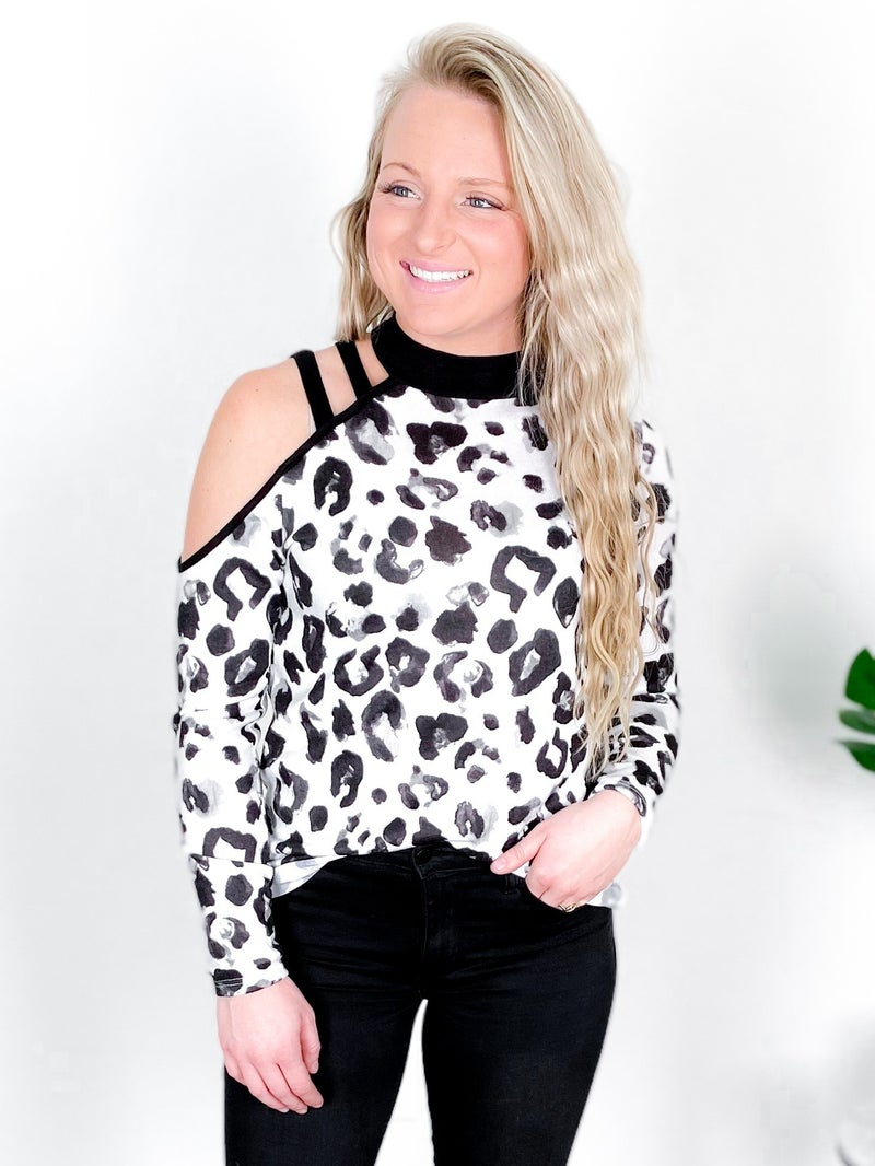 Leopard Top With One Side Shoulder Straps