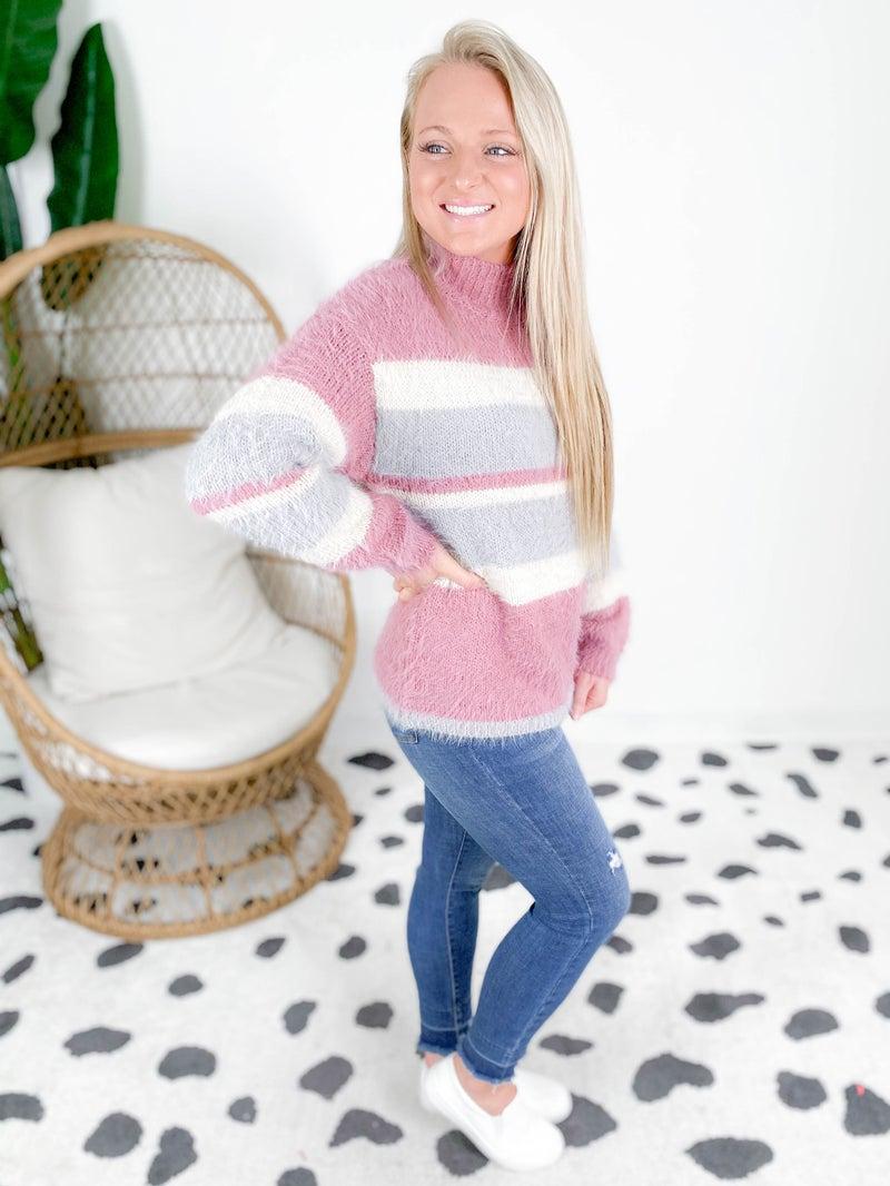 Fuzzy Mauve Striped Sweater