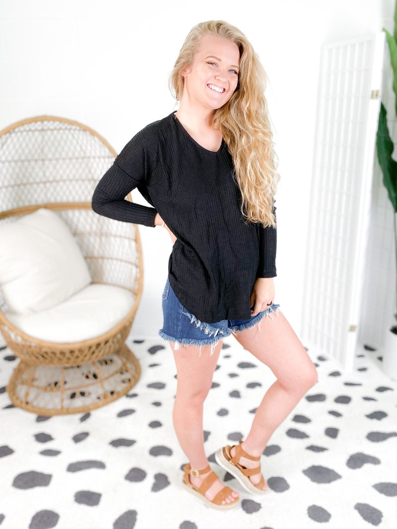 Twisted Open Back Waffle Knit Long Sleeve Top (Multiple Colors)