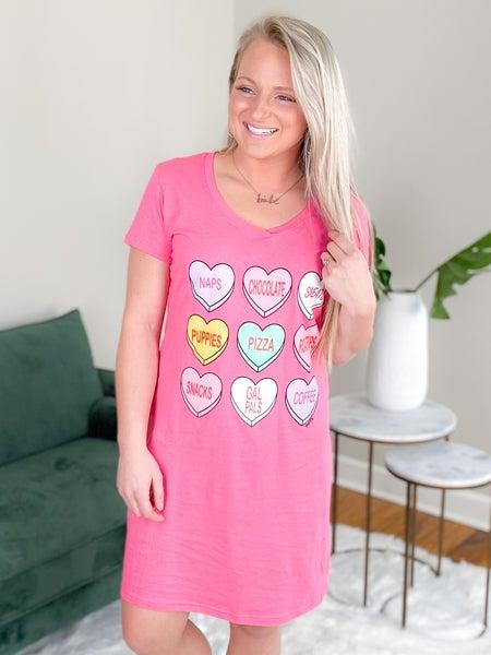 Conversation heart sleep shirt