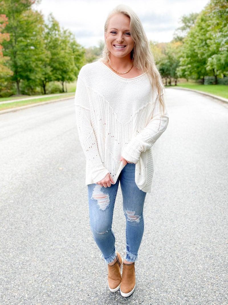 Cream Chevron Knit V Neck Sweater