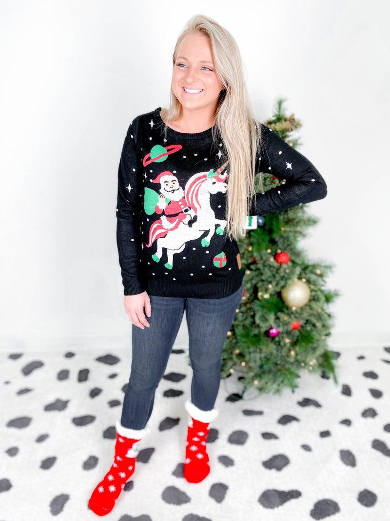 PLUS/REG Women's Space Santa Unicorn Christmas Sweater