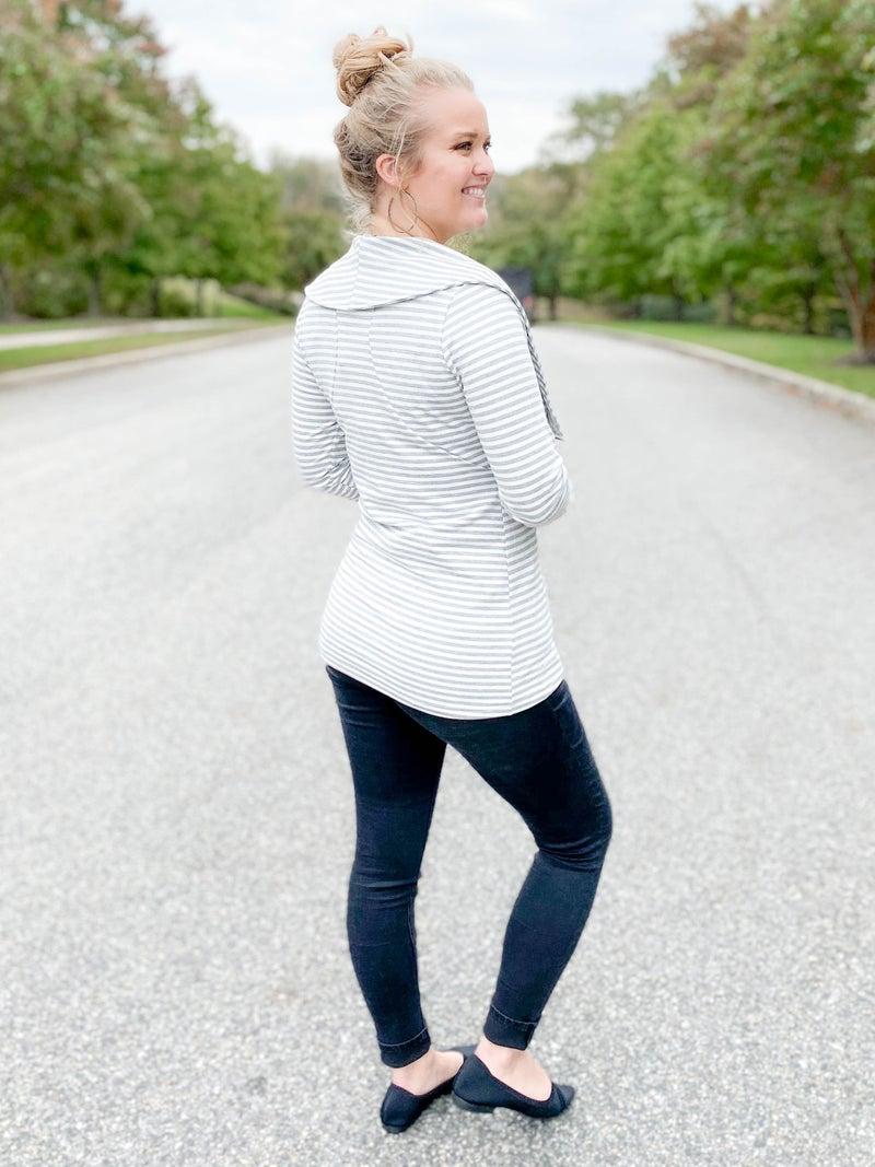 PLUS/REG Asymmetrical Zipper Stripe Jacket