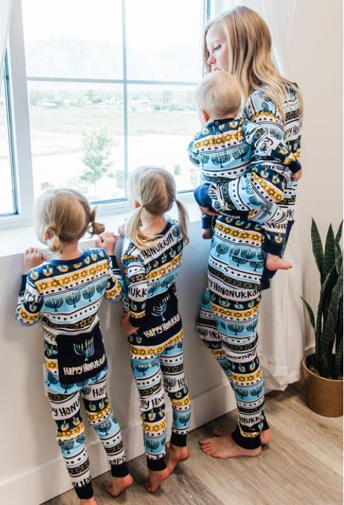 Happy Hanukkah Menorah Flapjack Matching Family Pajamas