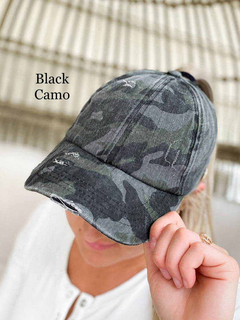 CC Washed Denim Criss Cross Hat with Button for Face Mask (Multiple Colors)
