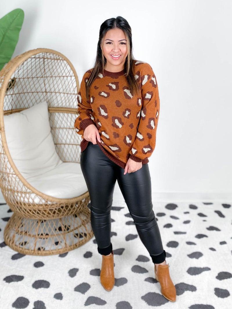 poppy day PLUS/REG Rust Leopard Print Sweater