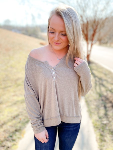 Long Sleeve Round Neck Solid Top With Half Button Detail (Multiple Colors)