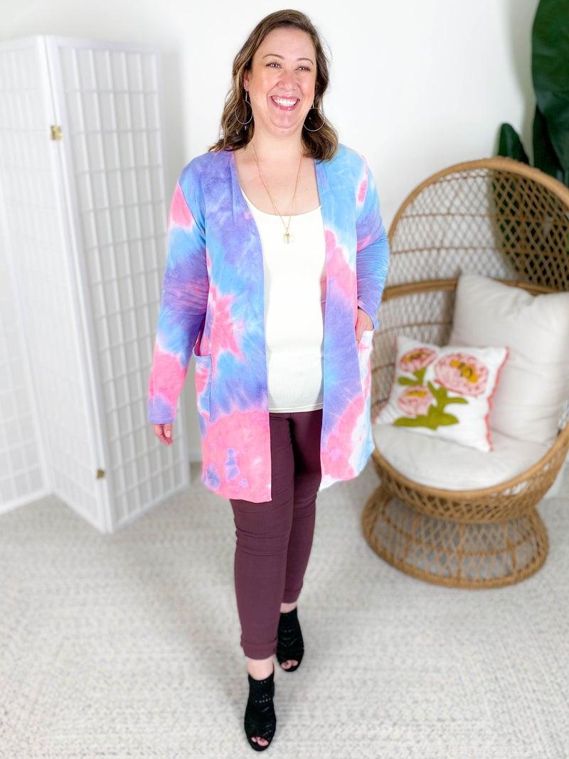 PLUS/REG Blue & Pink Tie Dye Open Cardigan