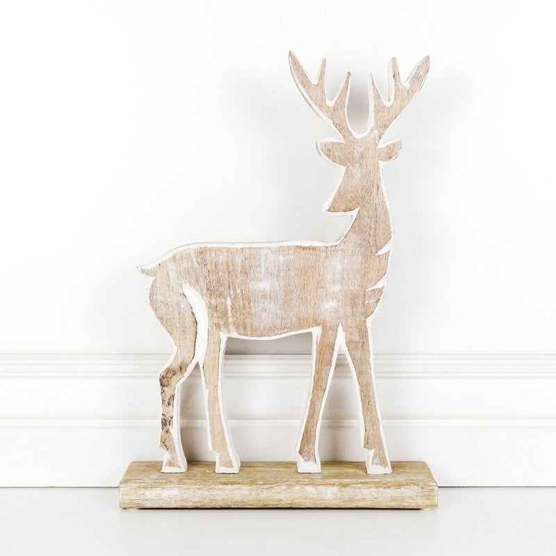 Small Wood Deer with Snowflake 9x15