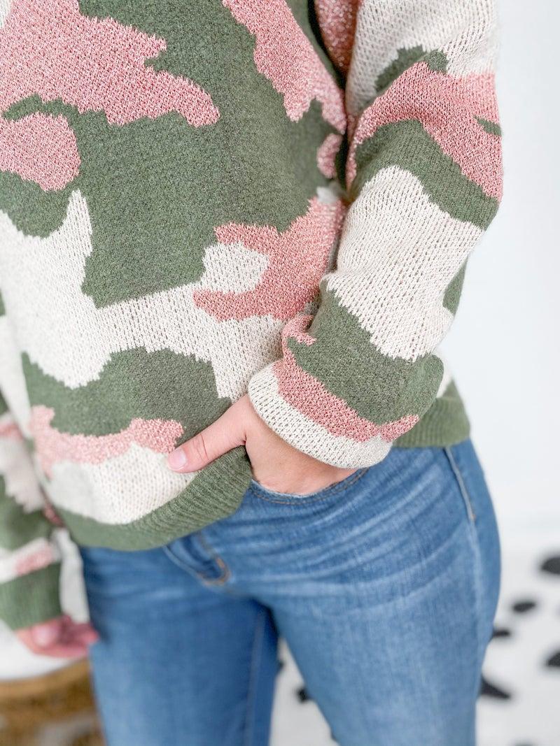 Rose Gold Metallic Knit Camo Sweater