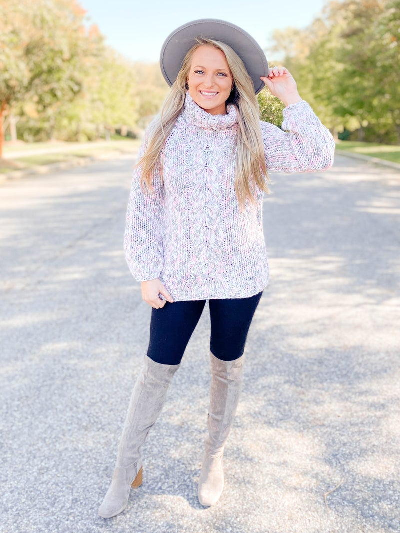 POPPY DAY!!!! POL Cableknit 3 Tone Turtleneck Sweater (Multiple Colors)