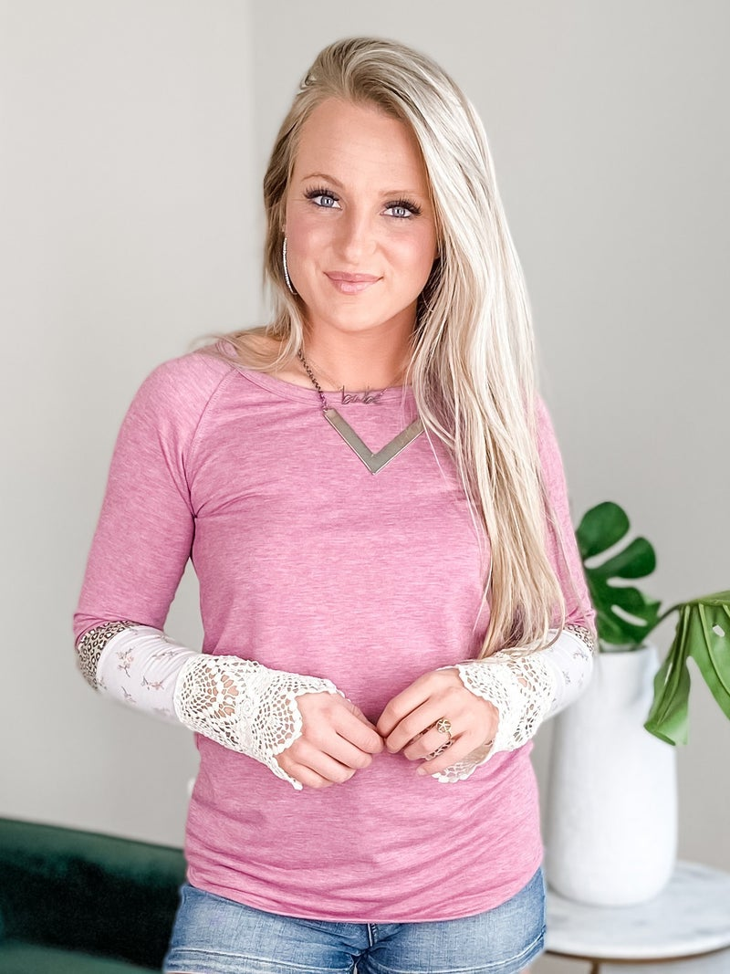 Color Block Long Sleeve Top With Lace Detail (Multiple Colors)