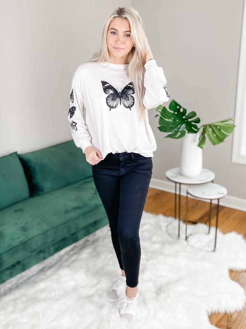 Long Sleeve Butterfly Print Sweatshirt (Multiple Colors)