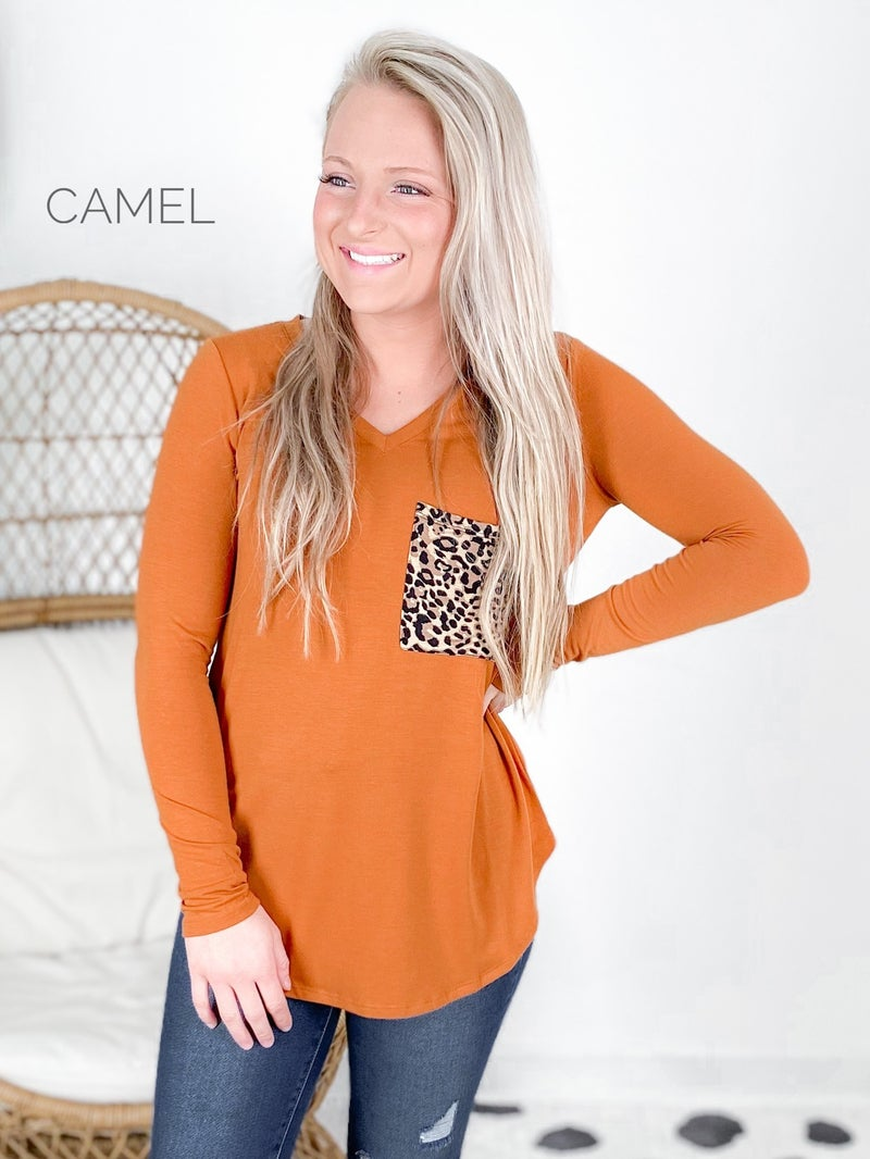 Door Buster! PLUS/REG Zenana Leopard Pocket Top (Multiple Colors)