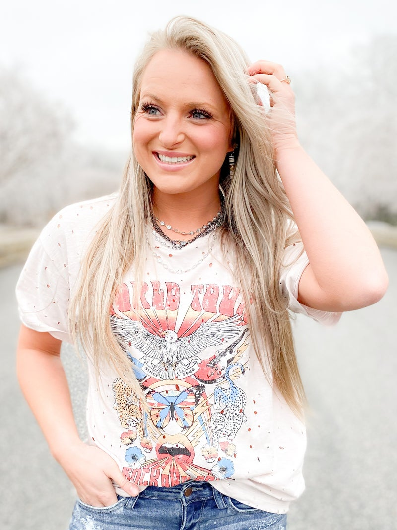 World Tour Rock And Roll Graphic Top