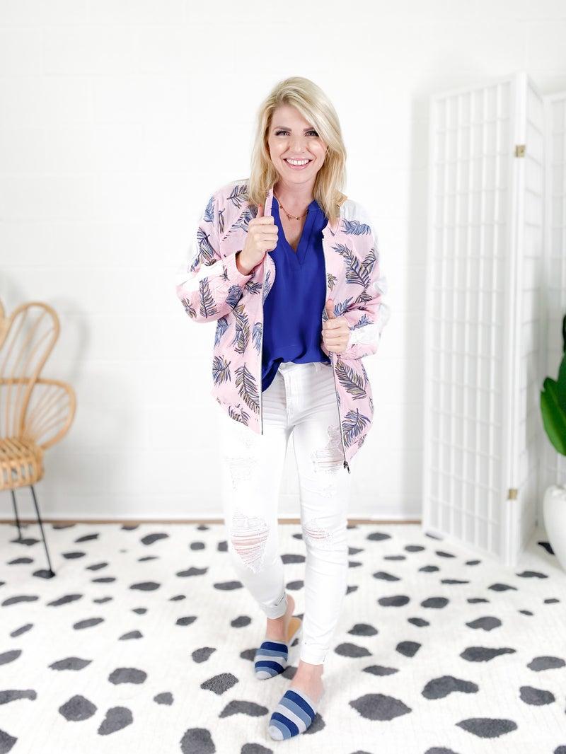 Long Sleeve Pink Bomber Jacket
