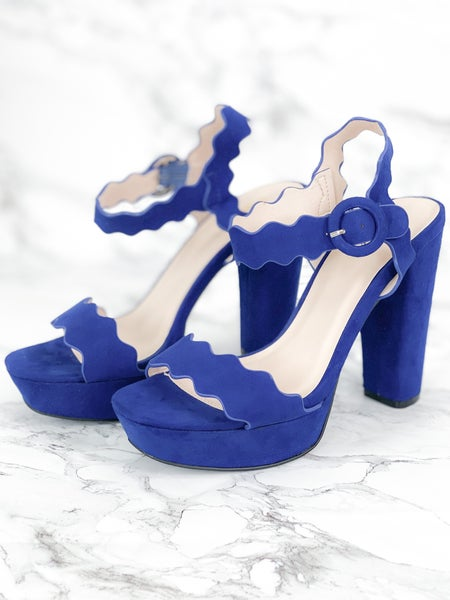Midnight Blue Scalloped Blocked Heels