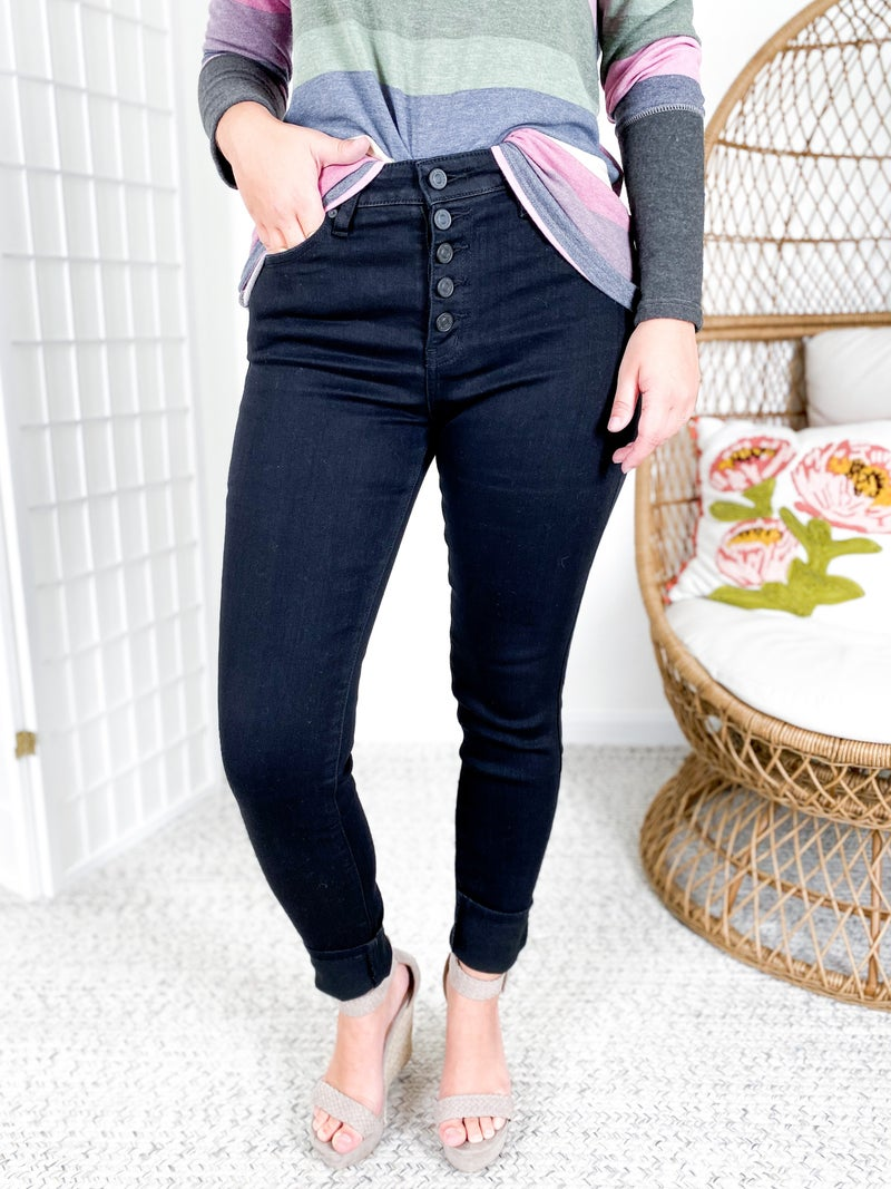 KanCan Bad to the Bone Button Fly Black Skinny Jeans