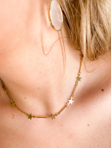 24kt Gold Plate Star Chain and Gold Link Layer Necklace