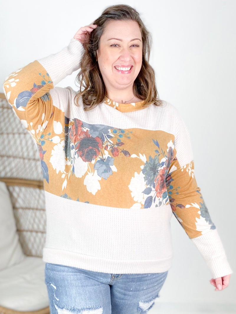 Plus/Reg Long Sleeve Waffle Knit Floral Top