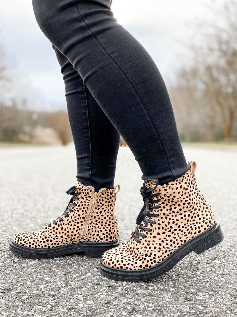 Freckled Cheetah Lace Up Combat Boots