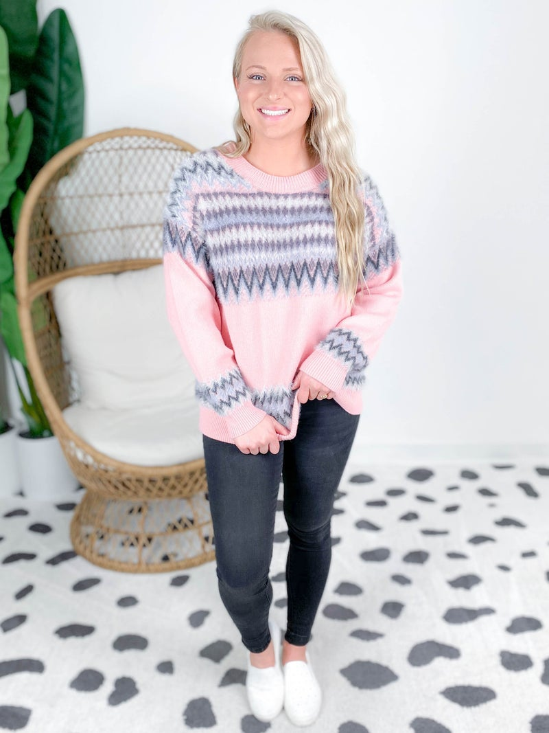 Multi-Color Textured Pullover Sweater (Multiple Colors)