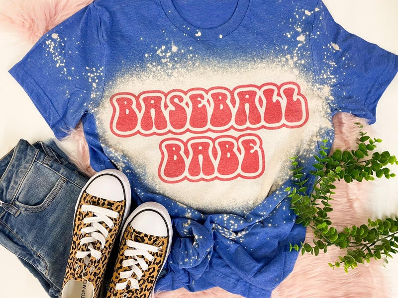 Blue bleached Baseball Babe Graphic