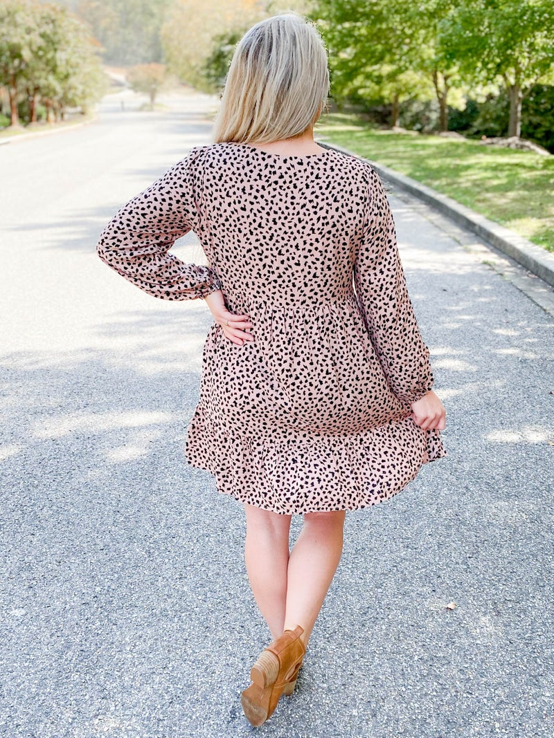 PLUS/REG Blush Leopard Dress With Embroidery Detail
