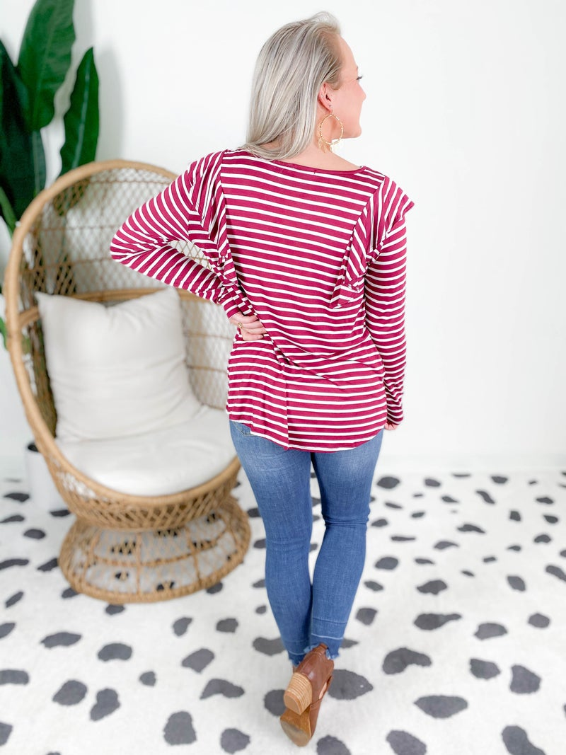PLUS/REG Stripe Top With Ruffle Sleeve (Multiple Colors)