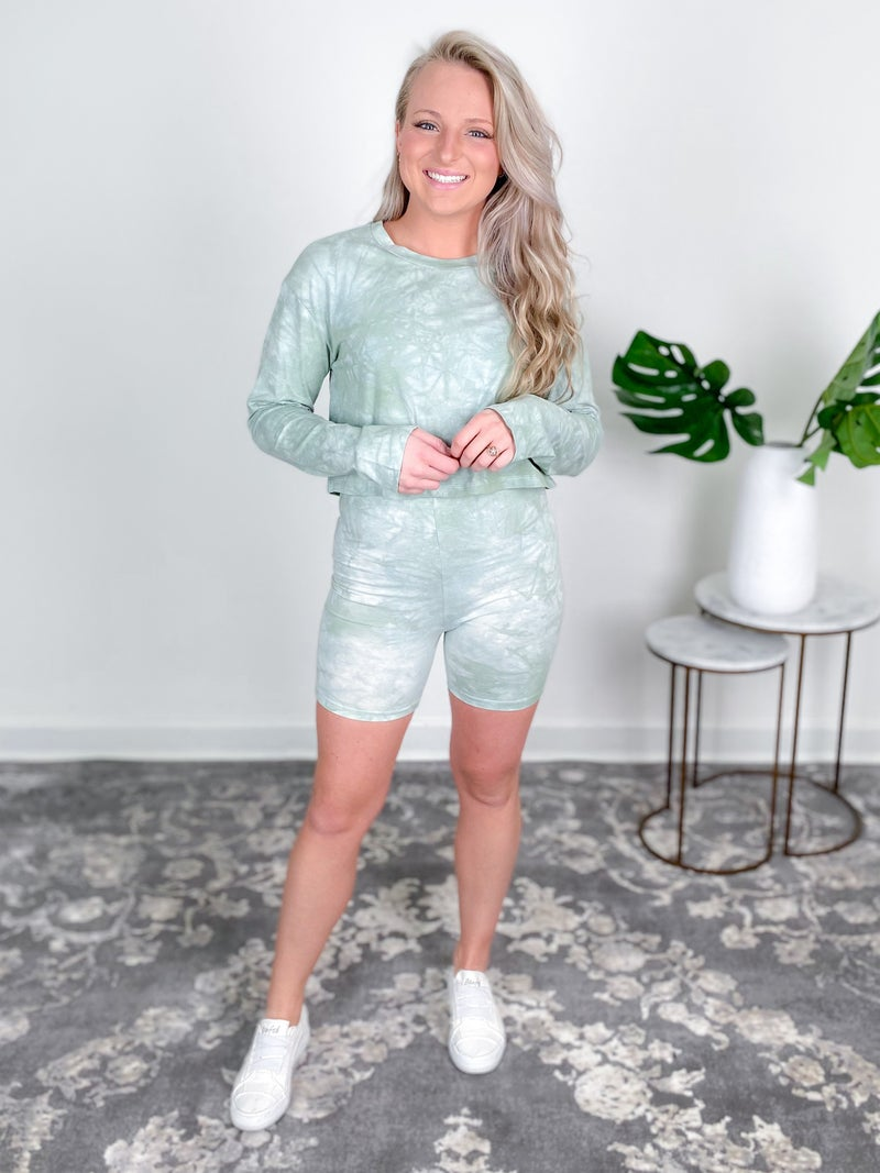 Tie Dyed Knit Crop Top And Biker Shorts Lounge Set (Multiple Colors)