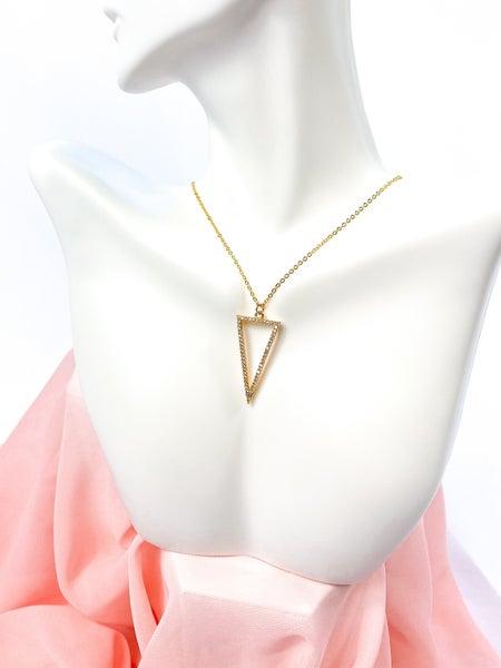 Hollow Gold Vermeil Triangle Pendant Necklace