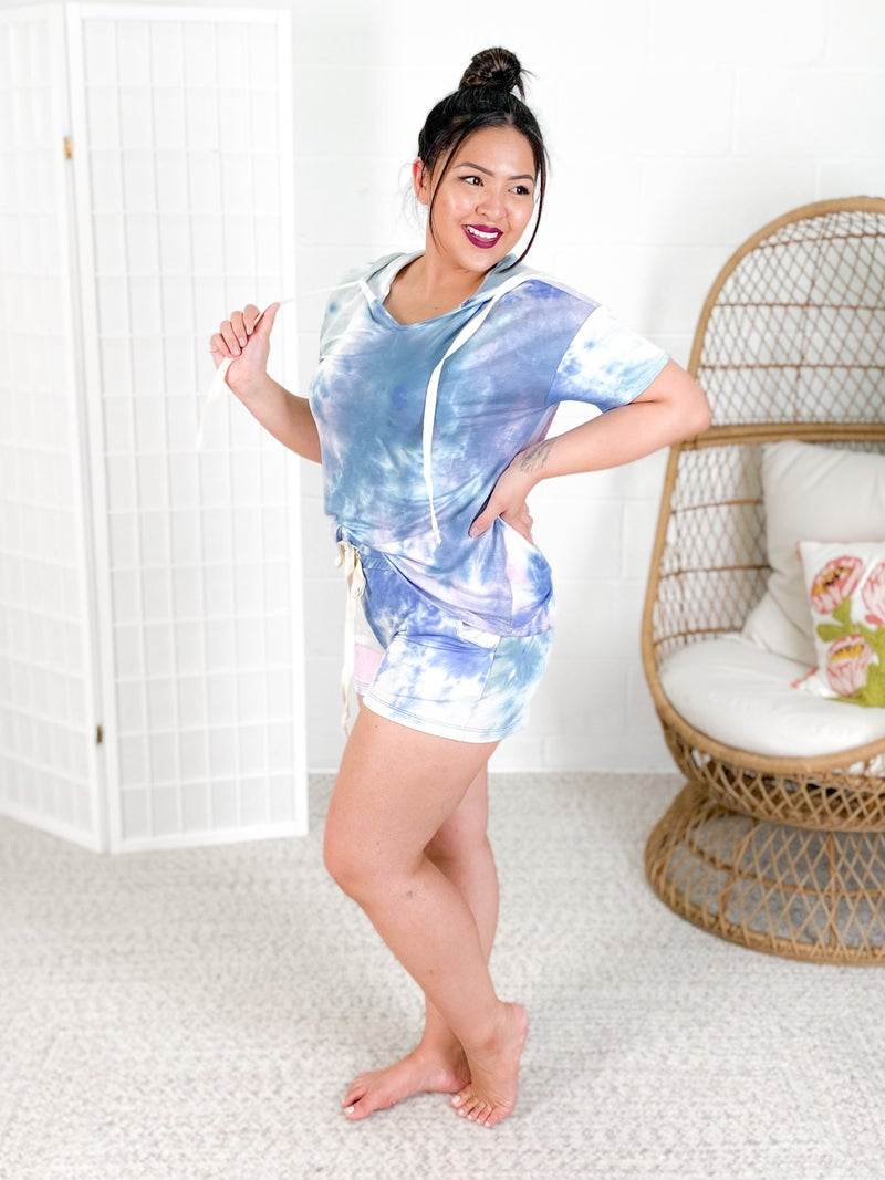 Blue Tie Dye Knit Shorts with Pockets
