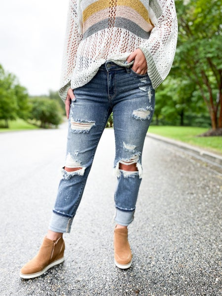 Plus/Reg Judy Blue Freckled Out OG Bleached Boyfriend Jeans
