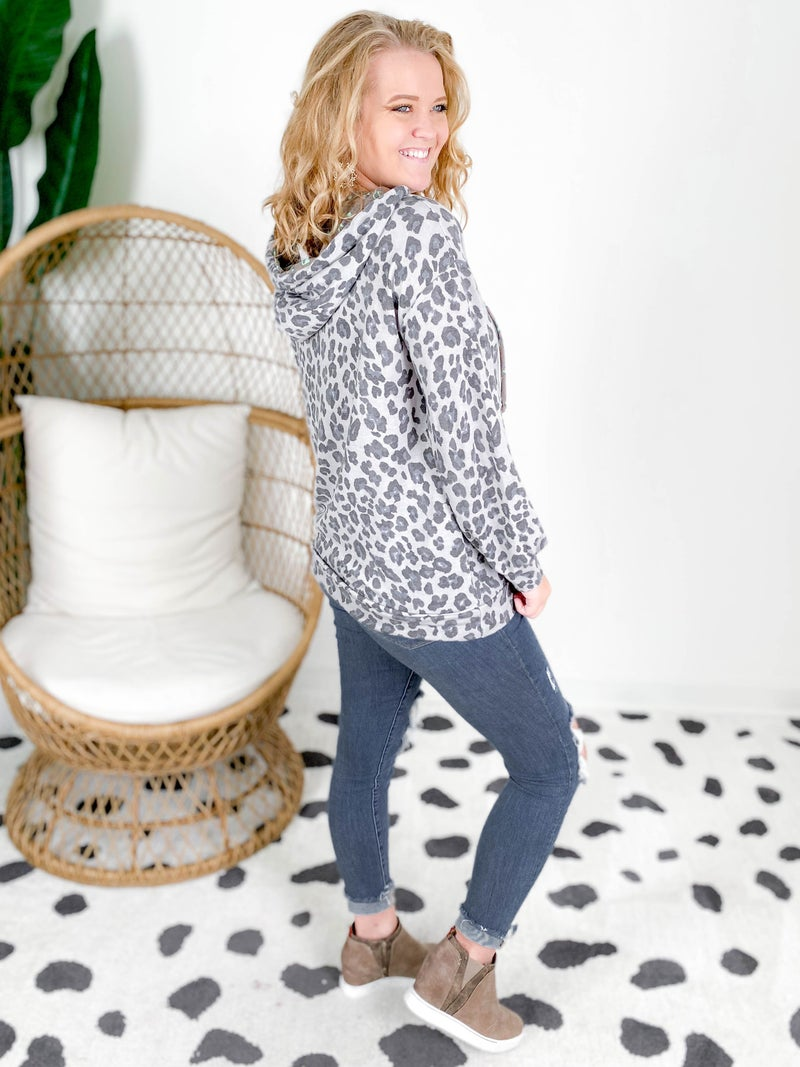 PLUS/REG Charcoal Leopard Hooded Top