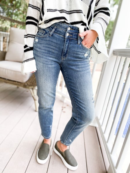 PLUS/REG Judy Blue Double Take Double Button Relaxed Fit Jeans