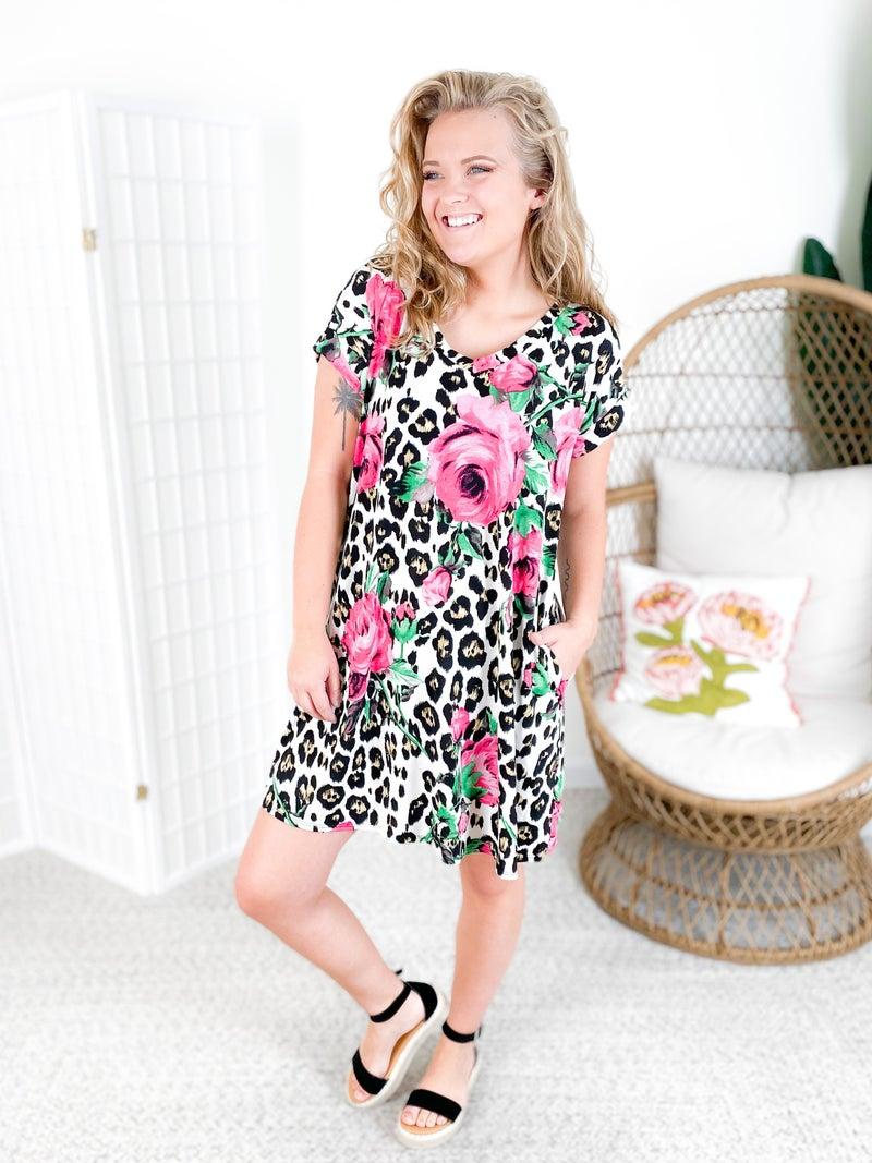 PLUS/REG Honeyme Leopard & Rose Print Dress