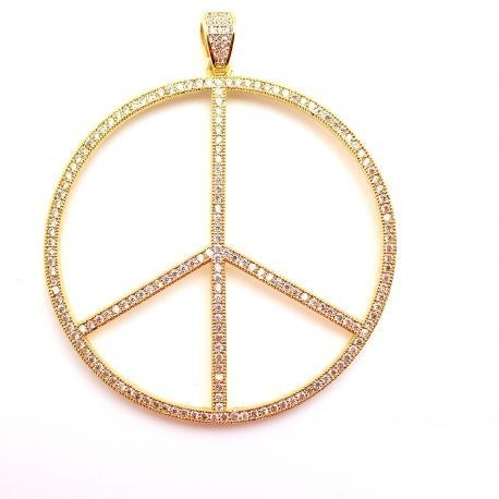 Karli Buxton Pave Gold Peace Sign Pendant