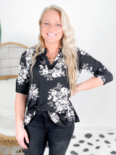 PLUS/REG Black Floral V Neck Sew in Love Top With Tab Sleeves