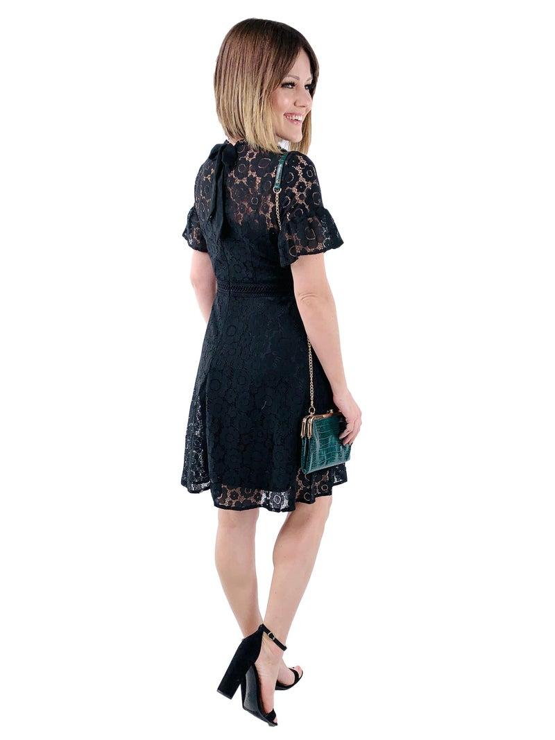Black Floral Lace Flare Dress