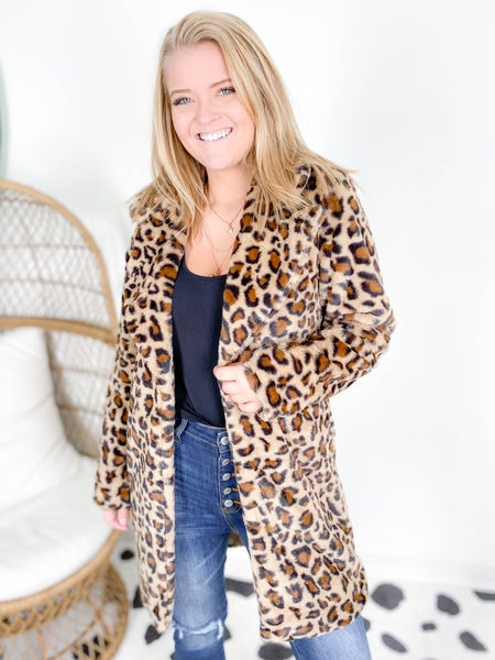 PLUS/REG Long Leopard Fur Coat