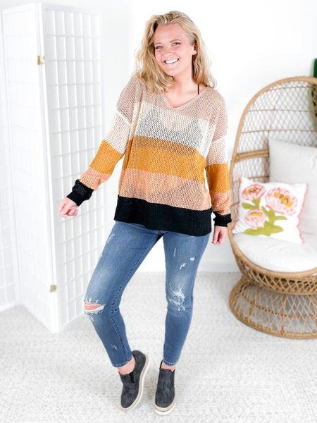 Colorblock V-Neck Summer Sweater