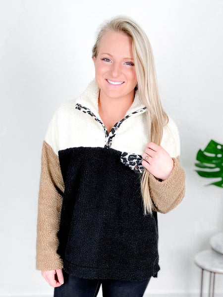 Color Block Fleece Jacket With Leopard Detail