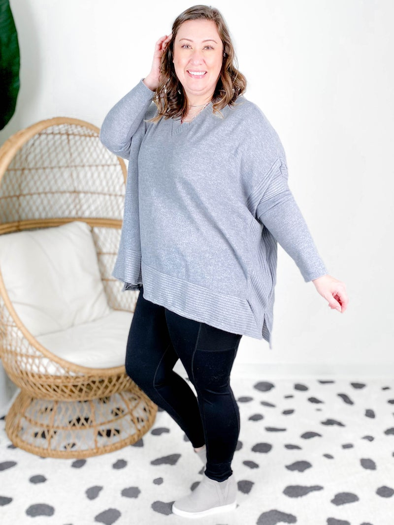 PLUS/REG Long Sleeve V Neck Solid Knit Top (Multiple Colors)