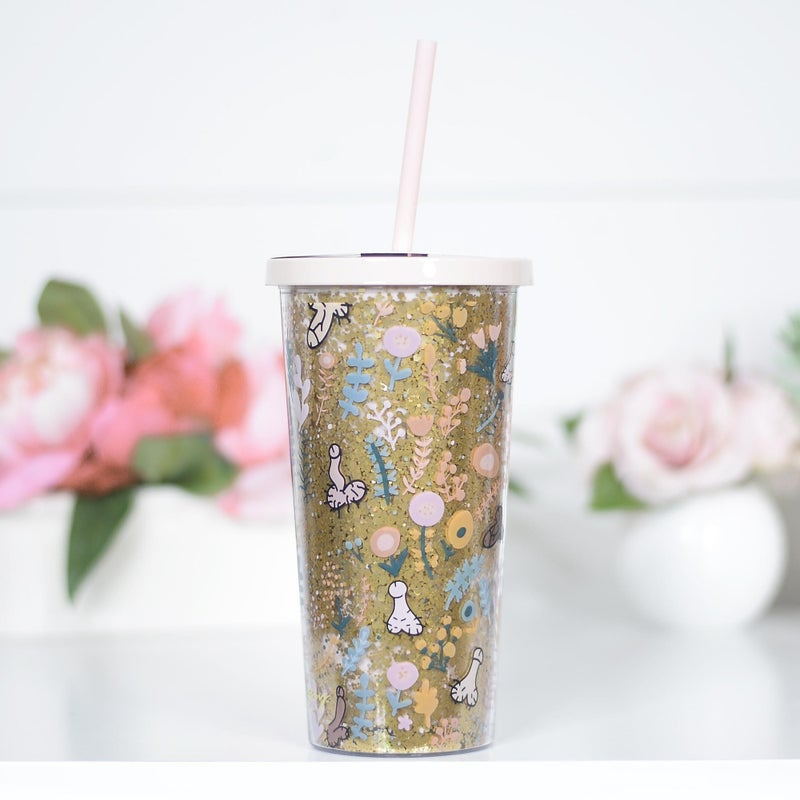 Floral Glitter Dick Travel Tumbler With Straw