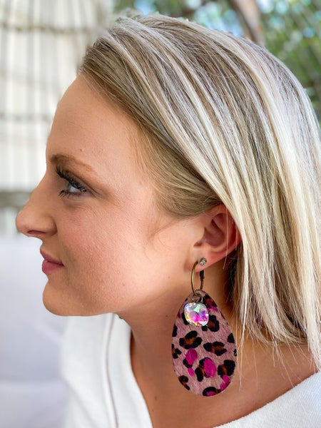 Keep it Gypsy pink leopard tear drop earring