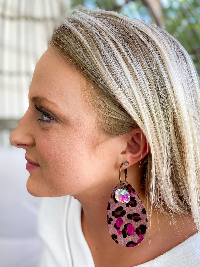 Keep it Gypsy pink leopard tear drop earring