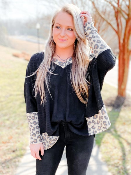 PLUS/REG Solid Waffle Knit Dolman Top With Leopard Detail (Multiple Colors)