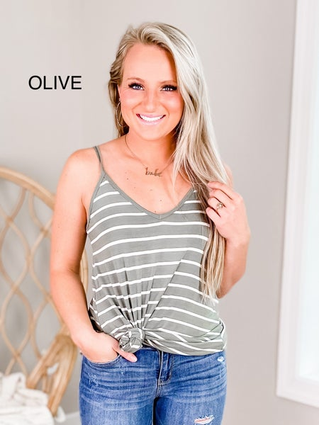 Door Buster! PLUS/REG Zenana Striped Reversible Cami Top (Multiple Colors)