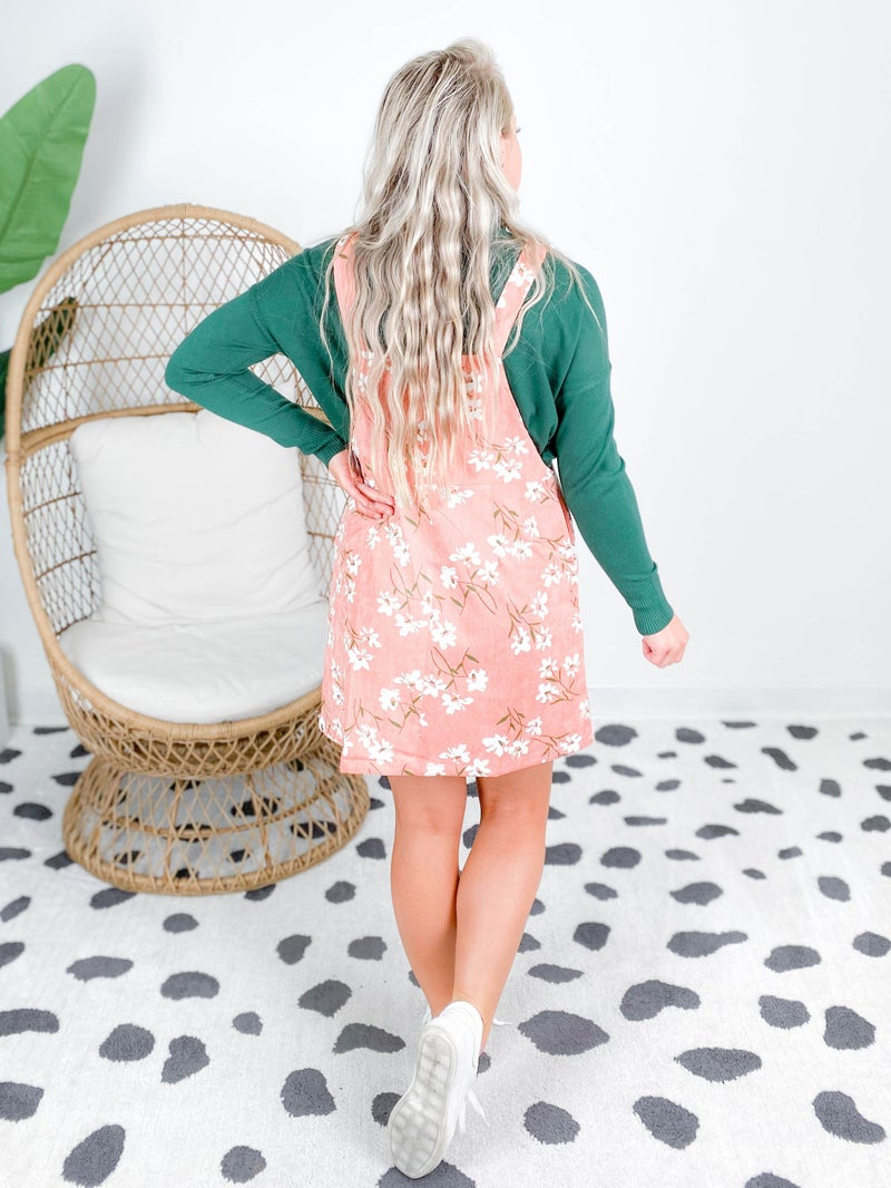 Floral Printed Corduroy Mini Dress ( Multiple Colors)