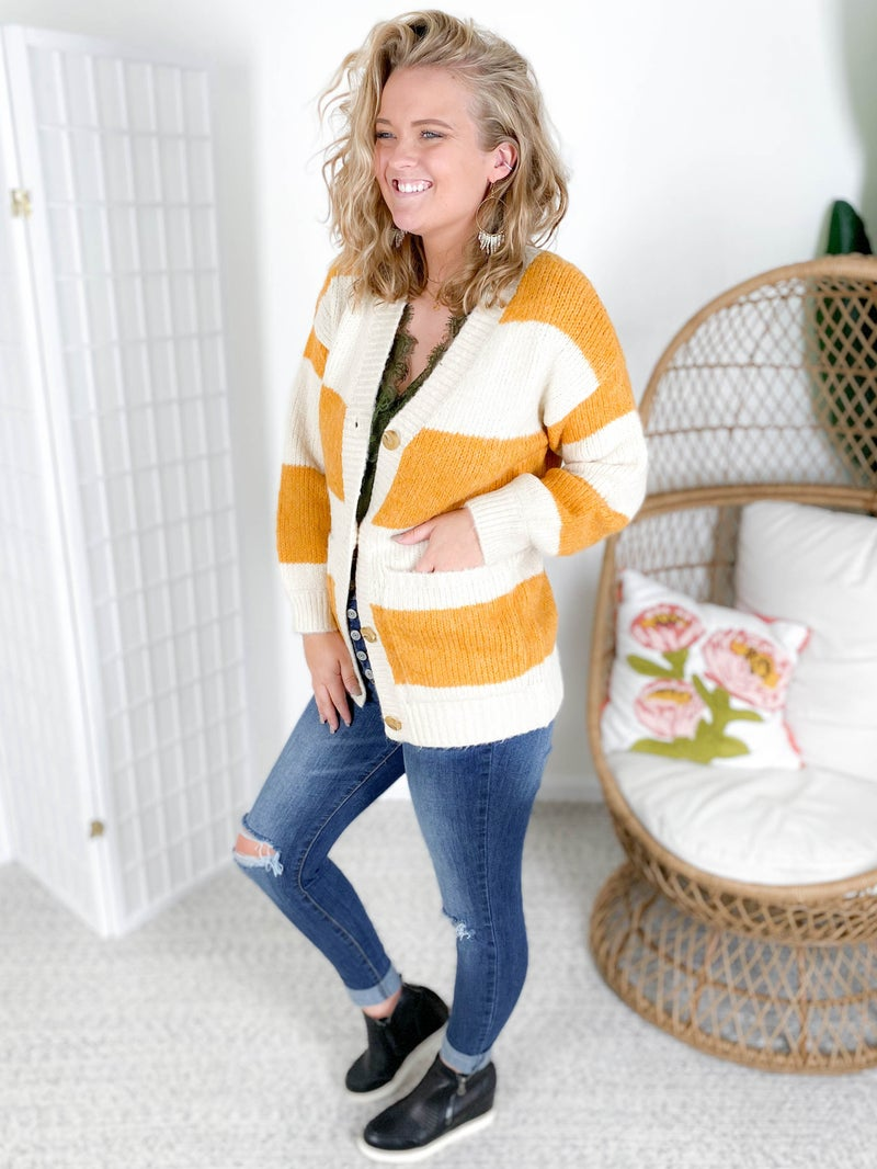 RESTOCK! Oversized Mustard & Taupe Stripes Button Up Cardigan Sweater